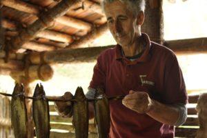 Vorführung zum FischräuchernDimostrazione dell'affumicatura del pesceDemonstration of fishsmoking